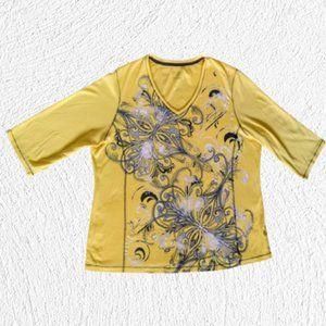 Karen Scott Yellow Top with Scroll design 2X